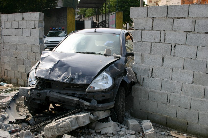 Car crashed through a wall