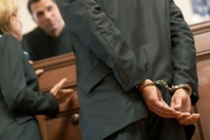 Cuffed man in Court