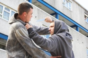 Man committing assault for a robbery