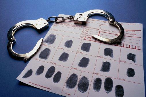Fingerprint card and handcuffs