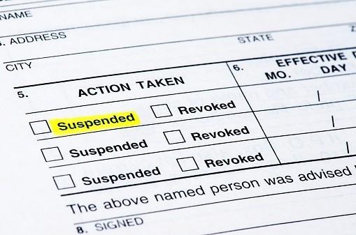 Form suspending license