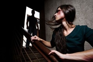 Battered woman in fear of man