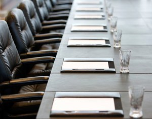 Empty chairs at a table